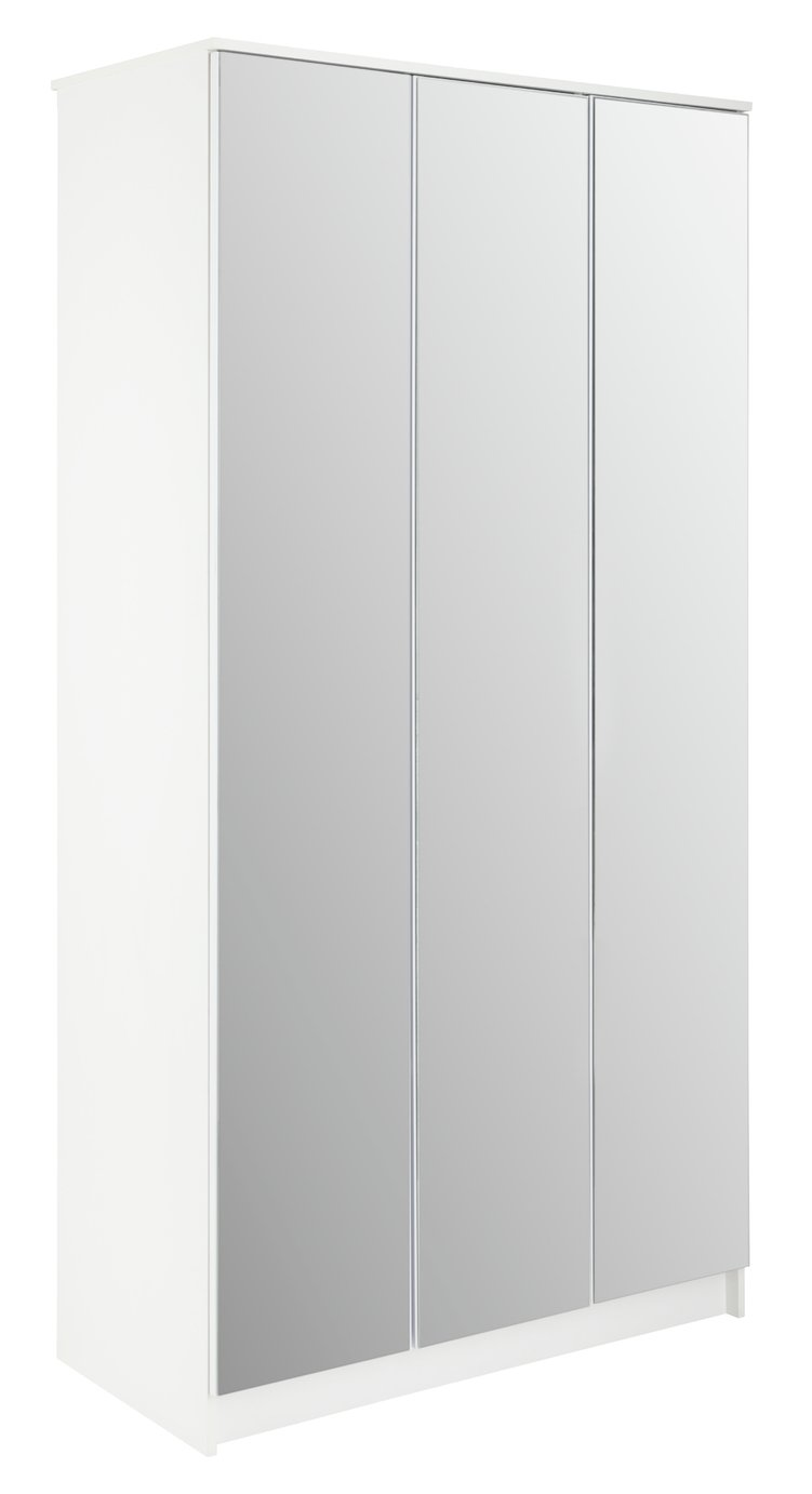 Argos Home Cheval 3 Door Mirrored Wardrobe - White
