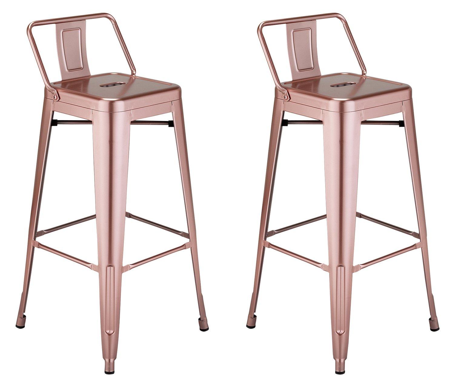 Argos Home Industrial Pair of Metal Bar Stools - Pink
