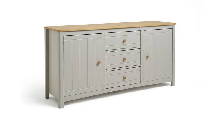 Habitat Bournemouth 2 Door 3 Drawer Sideboard -Light Grey