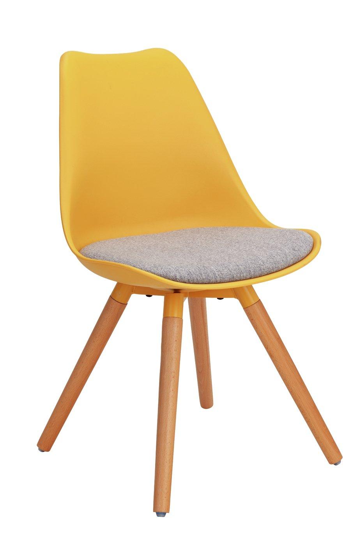 Argos Home Charlie Fabric Dining Chair - Mustard & Grey