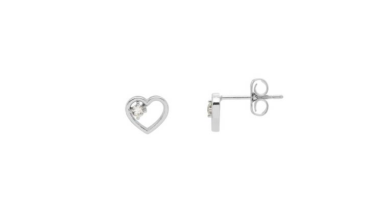Amelia Grace Silver Coloured Open Heart Earrings