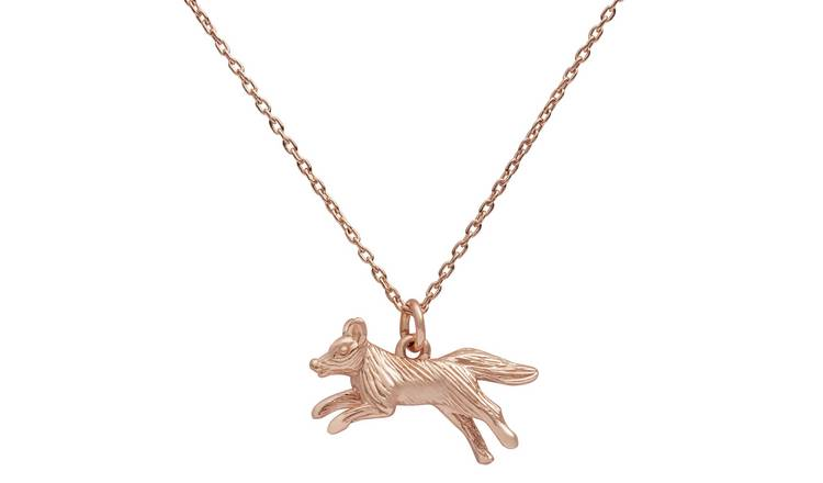 Revere 9ct Rose Gold Plated Fox Pendant Necklace  Chain