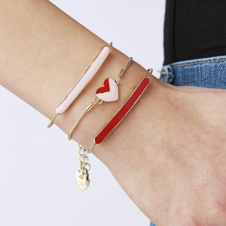 Lipsy Gold Colour Red & Pink Enamel Heart & Bar Bracelet