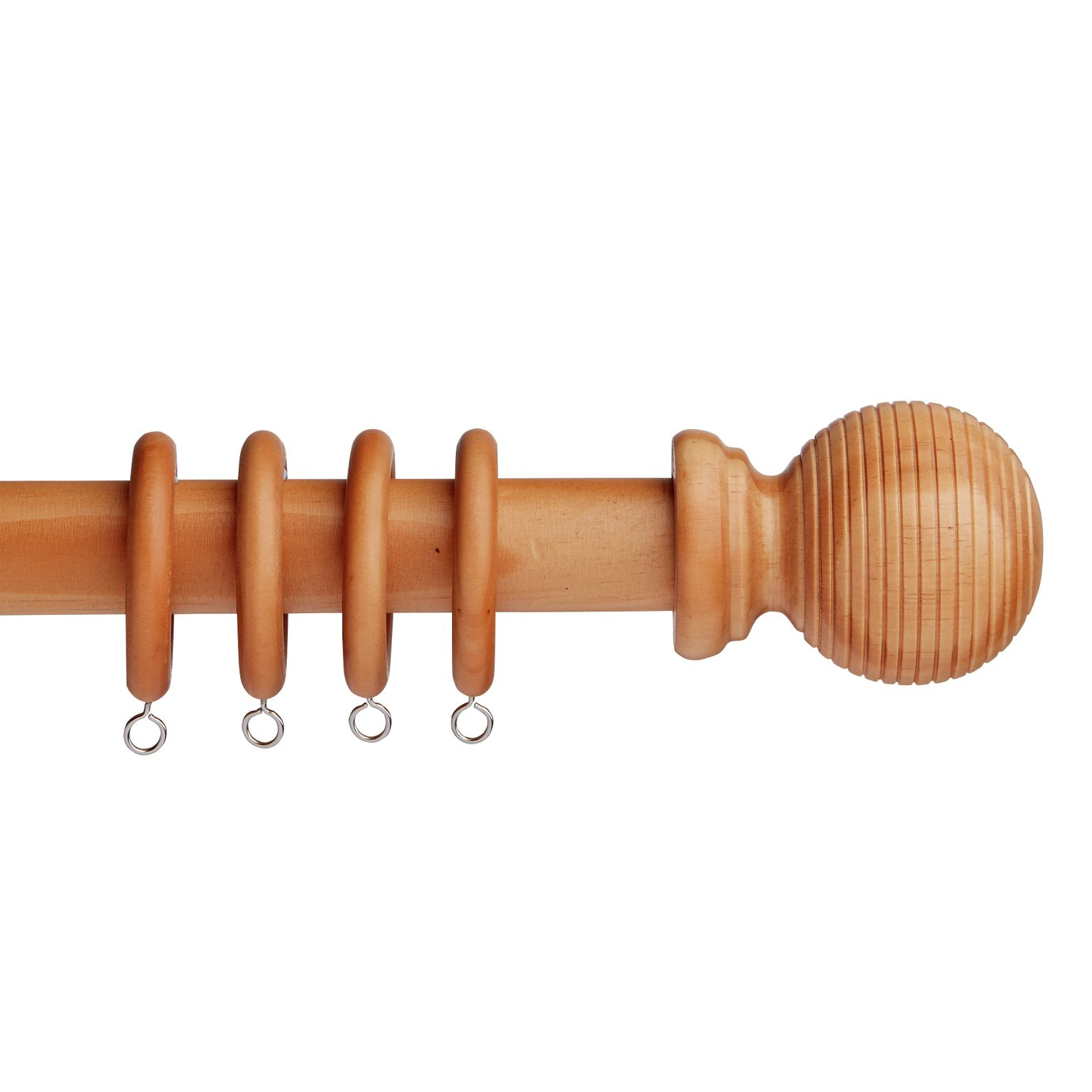 Argos Home 1.2m Grooved Ball Wooden Curtain Pole - Natural
