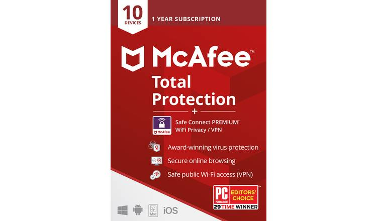 McAfee Total Protection 10 Device & 5 Device VPN SafeConnect