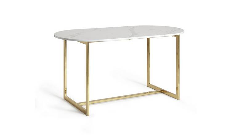 Buy Habitat Vivien 6 Seater Marble Effect Dining Table White Dining Tables Argos