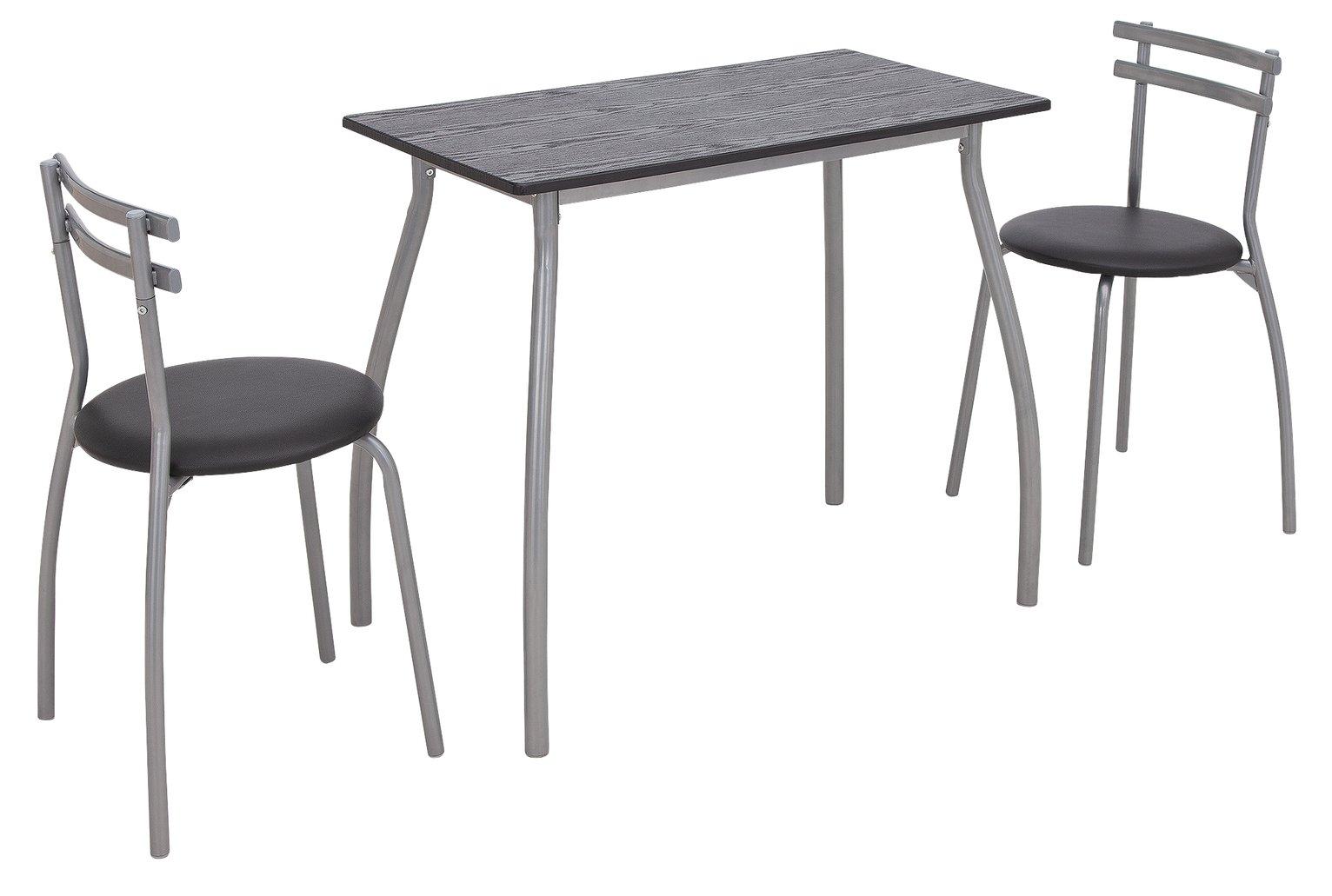 Argos Home Leon Black Table & 2 Black Chairs