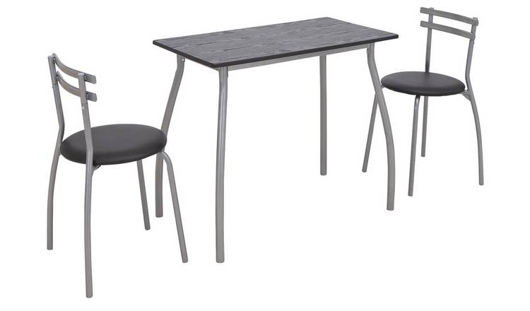 Argos Home Leon Black Table & 2 Black Chairs