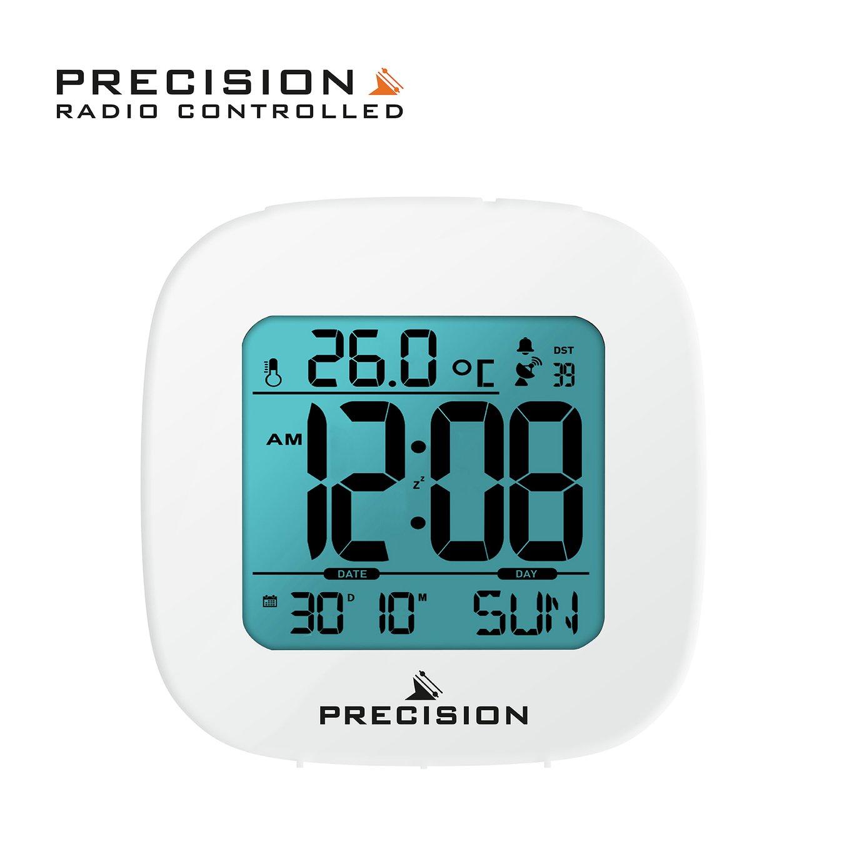 Precision Radio Controlled Digital Alarm Clock - White