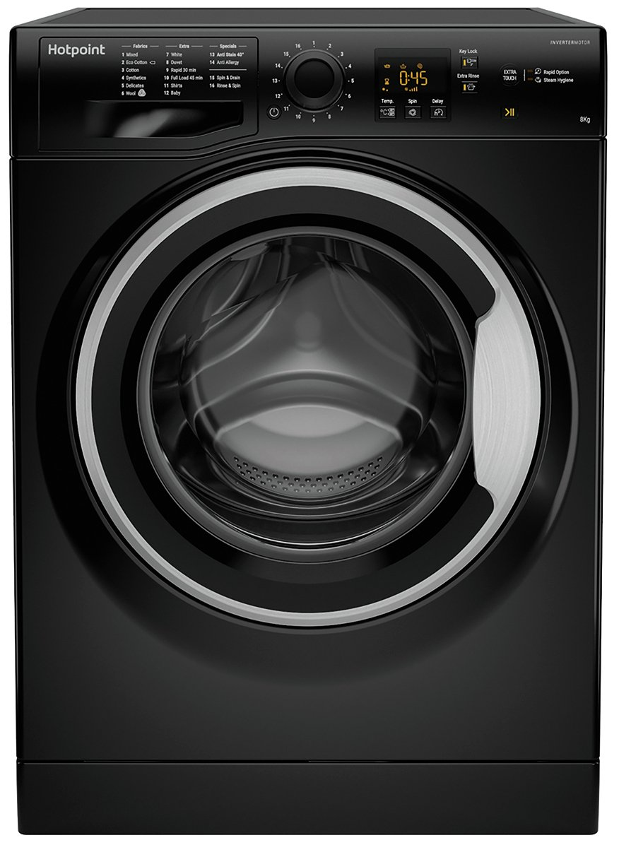 Hotpoint NSWM843CBS 8KG 1400 Spin Washing Machine - Black