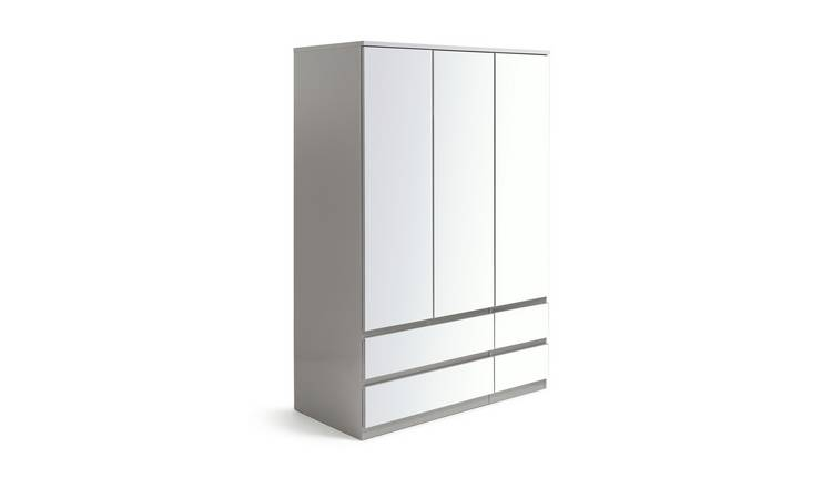 Habitat Jenson Gloss 3 Dr 4 Drw Mirrored Wardrobe - Grey