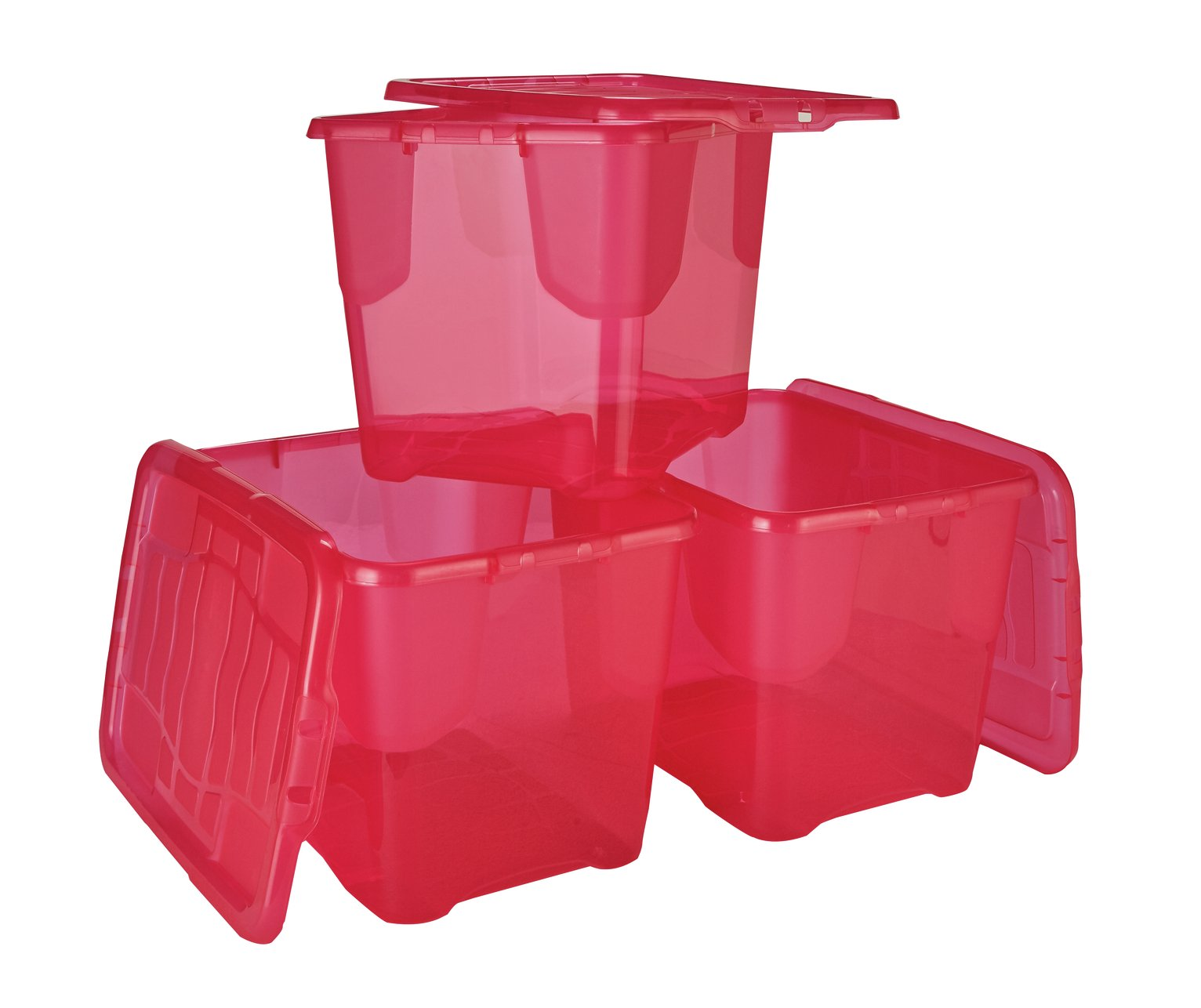 Strata Set of 3 24 Litre Pink Curve Storage Boxes