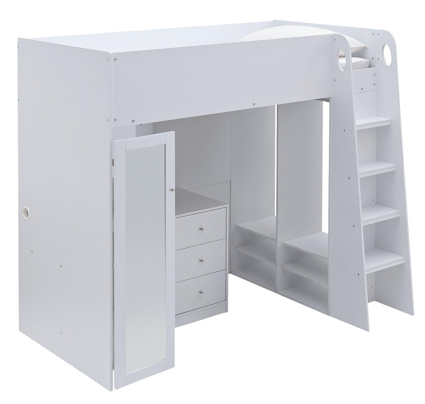 Argos Home Glam High Sleeper Bed & Mattress - White