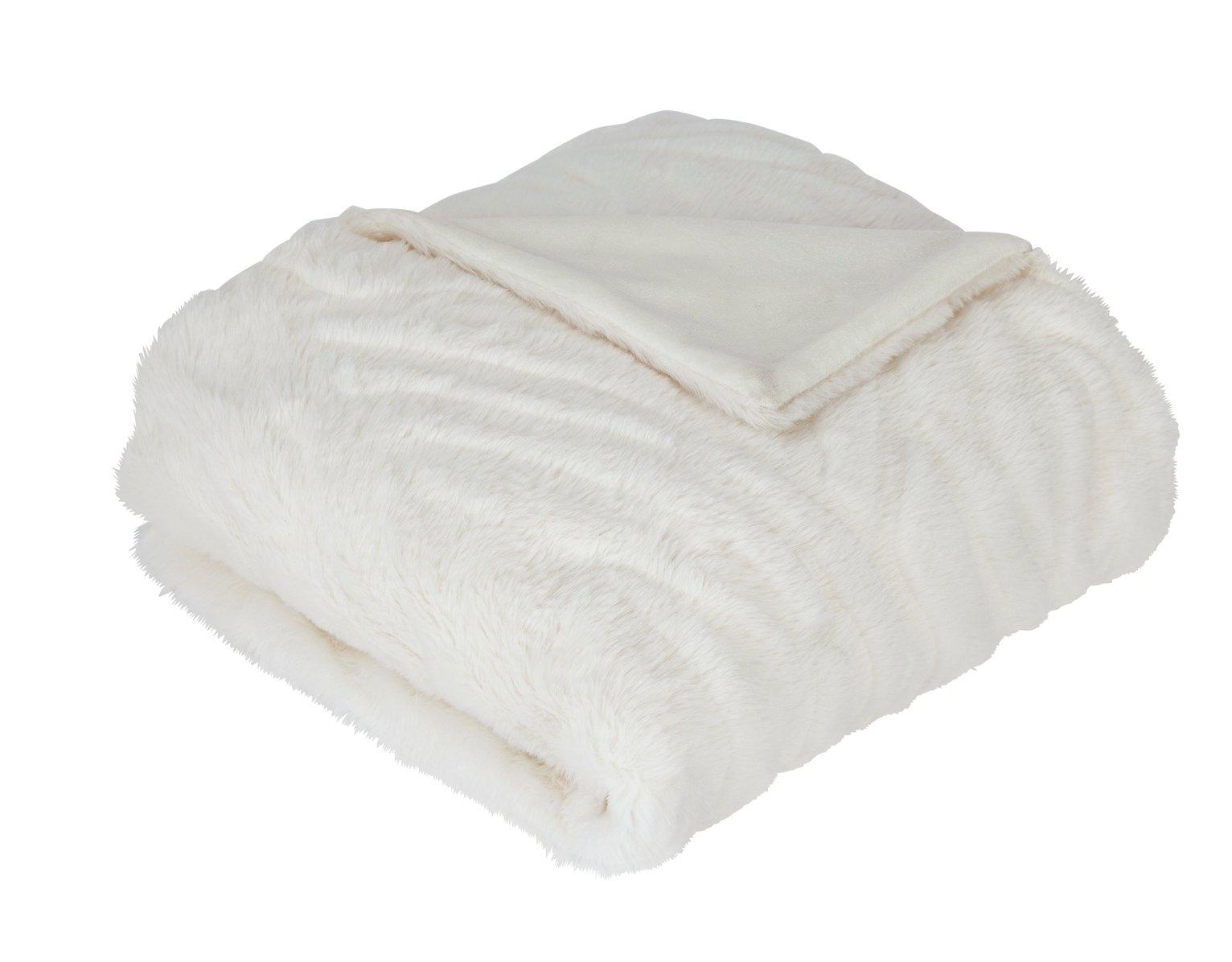 Argos Home Carved Faux Fur Throw - White