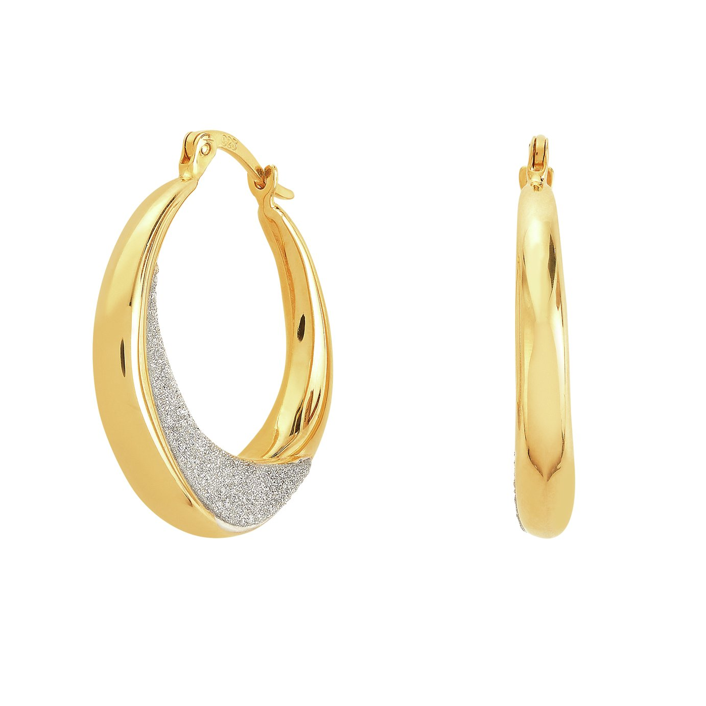 Revere 9ct Gold Plated Sterling Silver Creole Earrings