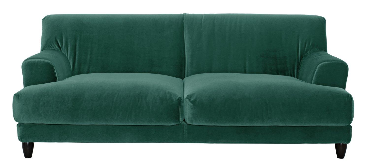 Habitat Askem 3 Seater Velvet Sofa - Emerald Green