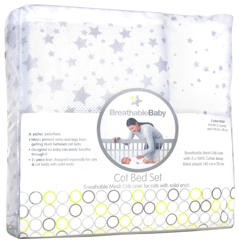 BreathableBaby Cot Bed Set - Twinkle Grey