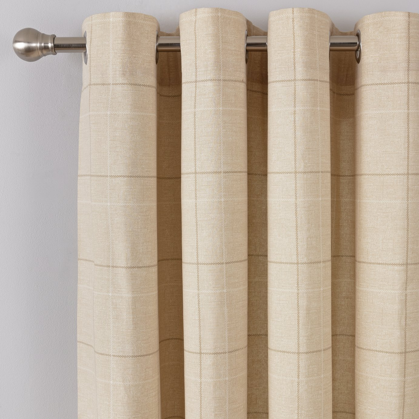 Argos Home Brancaster Check Lined Eyelet Curtains - Natural
