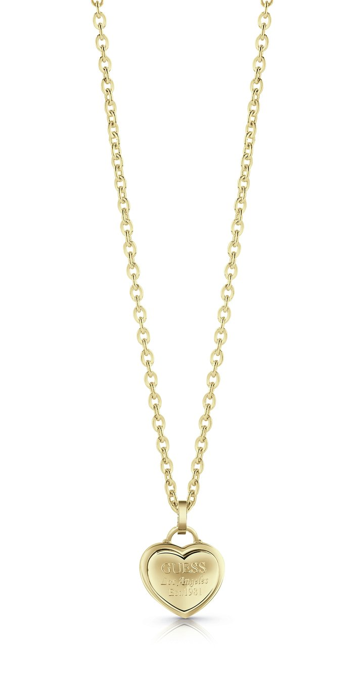 Guess Follow My Charm  Gold Plated Heart Pendant Necklace