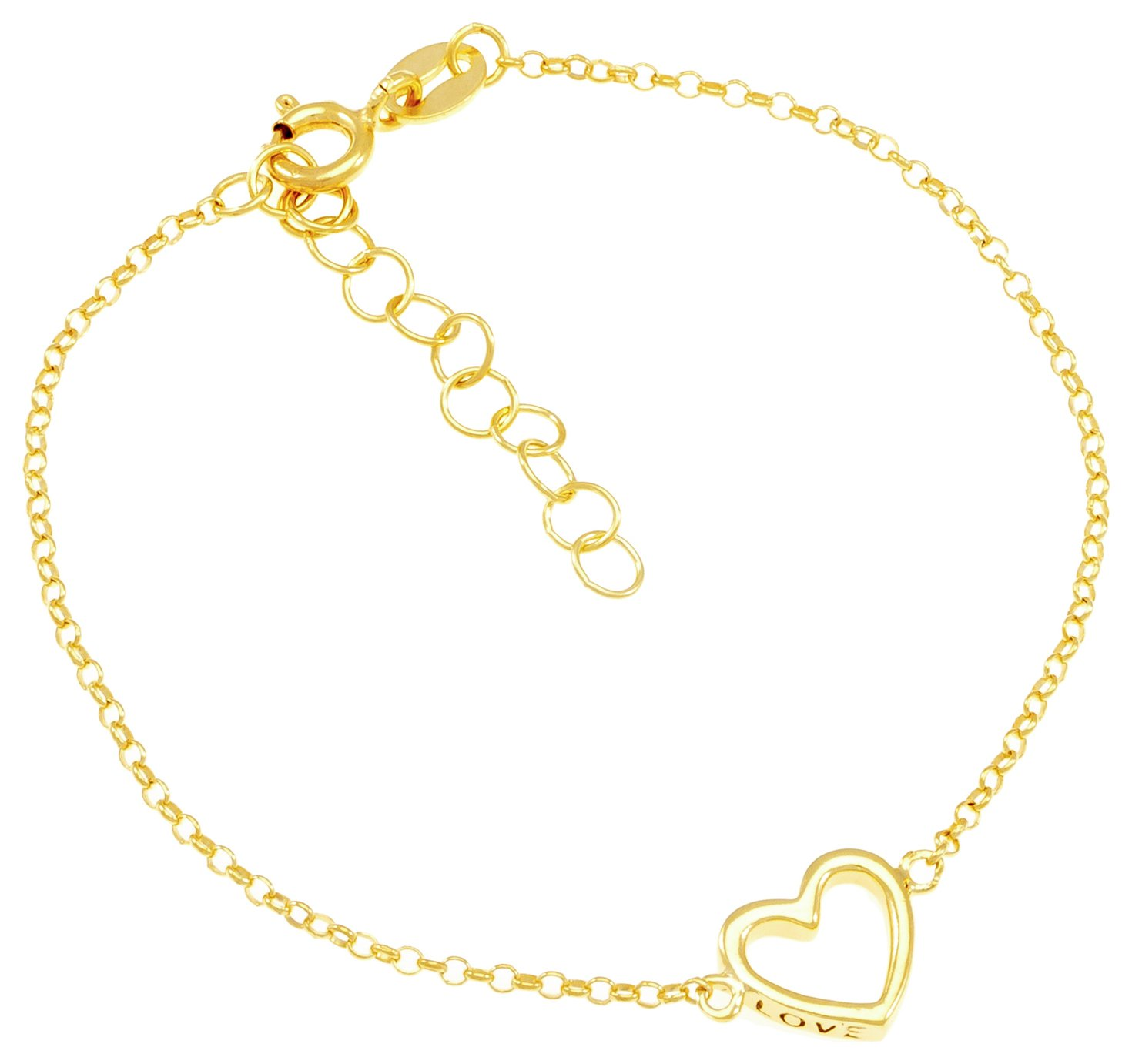 Revere 9ct Gold Plated Sterling Silver Open Heart Bracelet