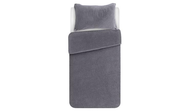 Buy Argos Home Grey Fleece Bedding Set Single Duvet