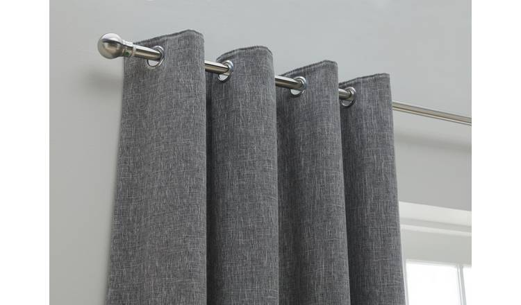Habitat Blackout Fully Lined Eyelet Curtains - Charcoal