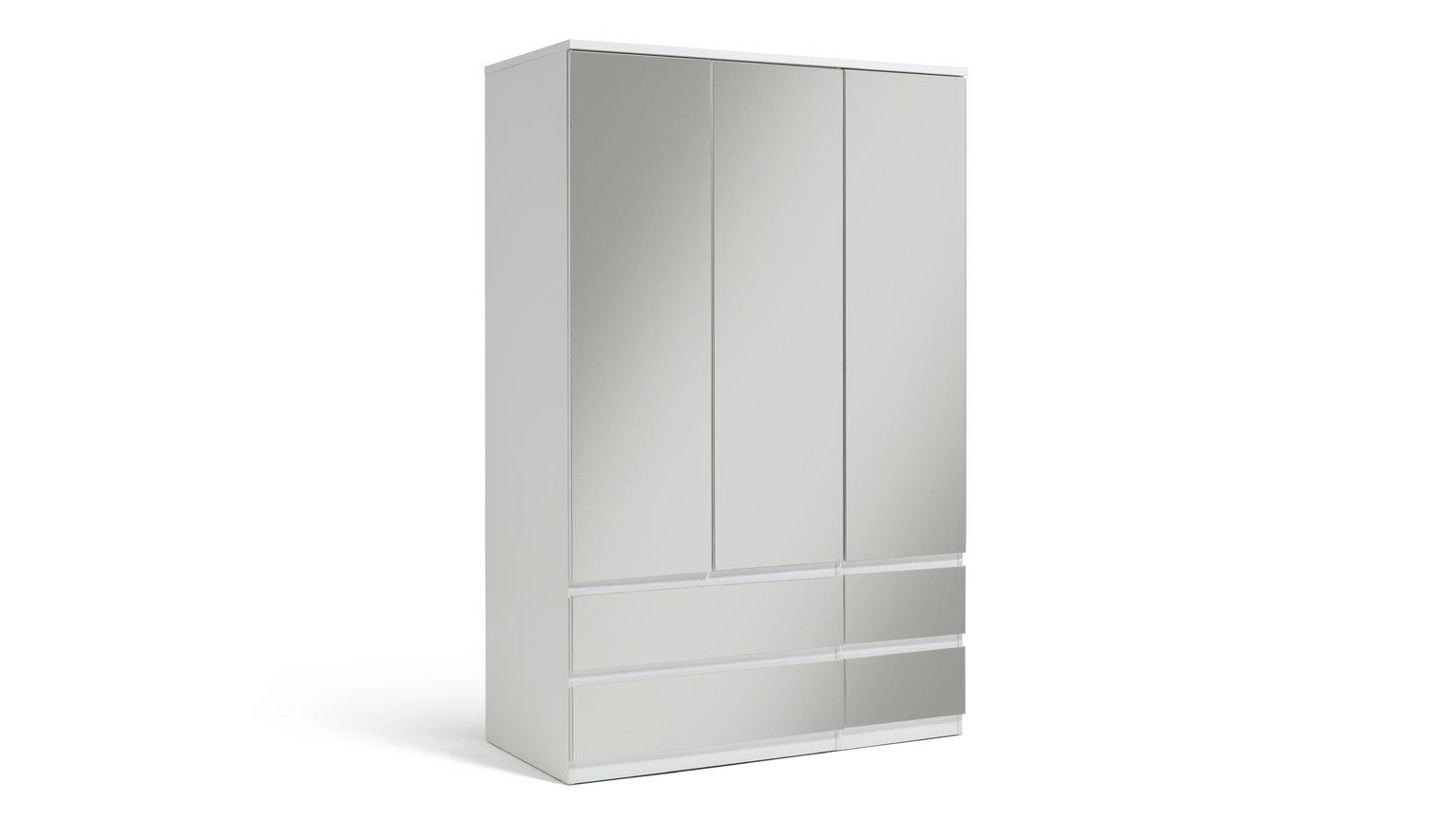 Argos Home Jenson Gloss 3 Dr 4 Drw Mirrored Wardrobe - White