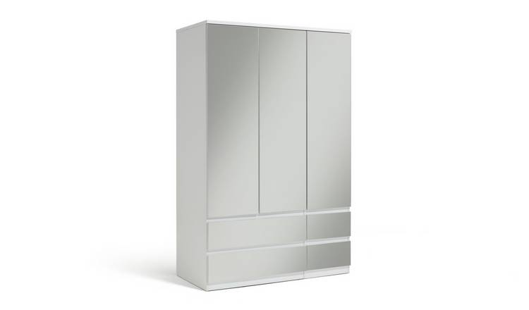 Habitat Jenson Gloss 3 Dr 4 Drw Mirrored Wardrobe - White