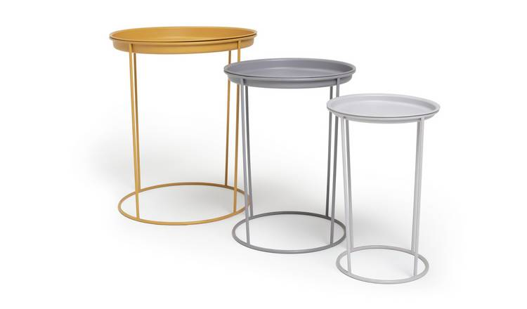 Habitat Finley Nest of 3 Tables - Grey & Yellow