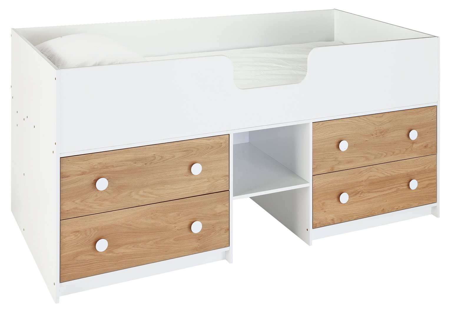 Argos Home Jackson White & Oak Cabin Bed & Mattress