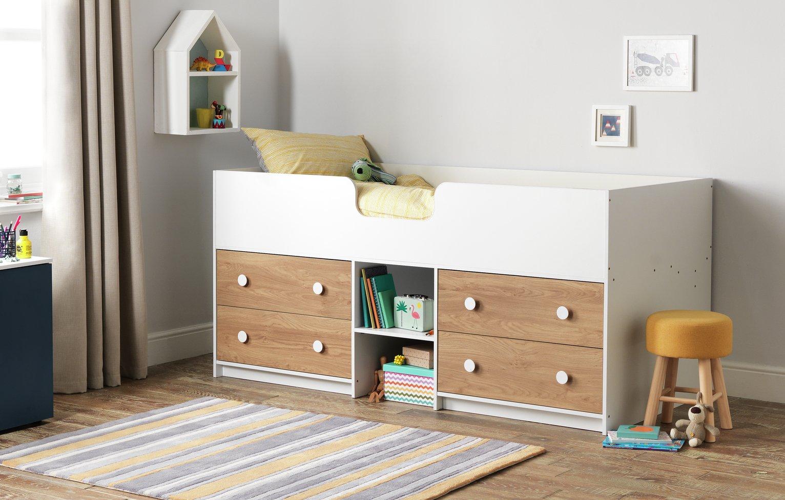 Argos Home Jackson White & Oak Mid Sleeper Bed & Mattress
