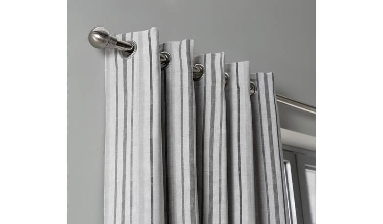 Habitat Striped Blackout Eyelet Curtains - Grey