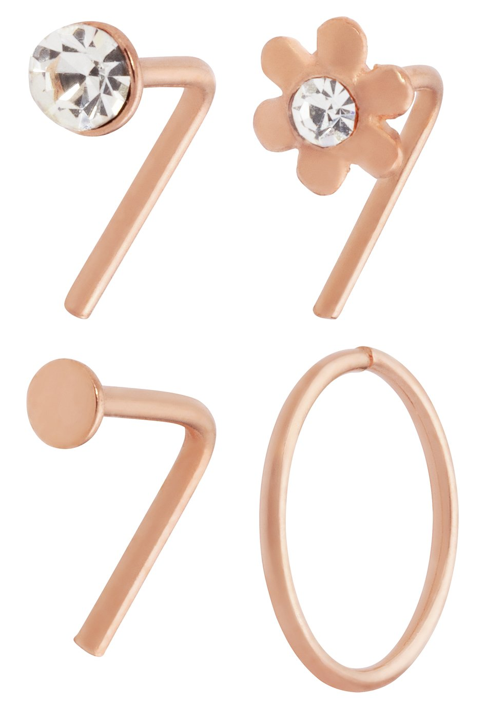 State of Mine 9ct Rose Gold Plated Nose Hoop & Stud Set of 4