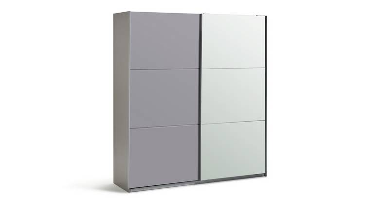 Habitat Holsted Large Grey Gloss &Mirror Sliding Wardrobe