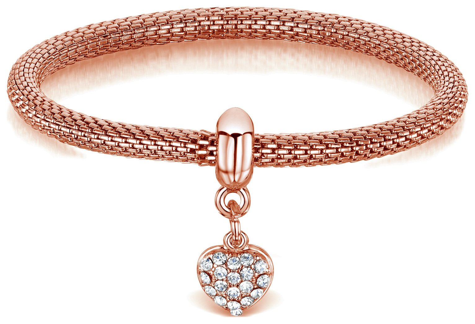 Buckley London Heart Rose Coloured Charm  Mesh Bracelet