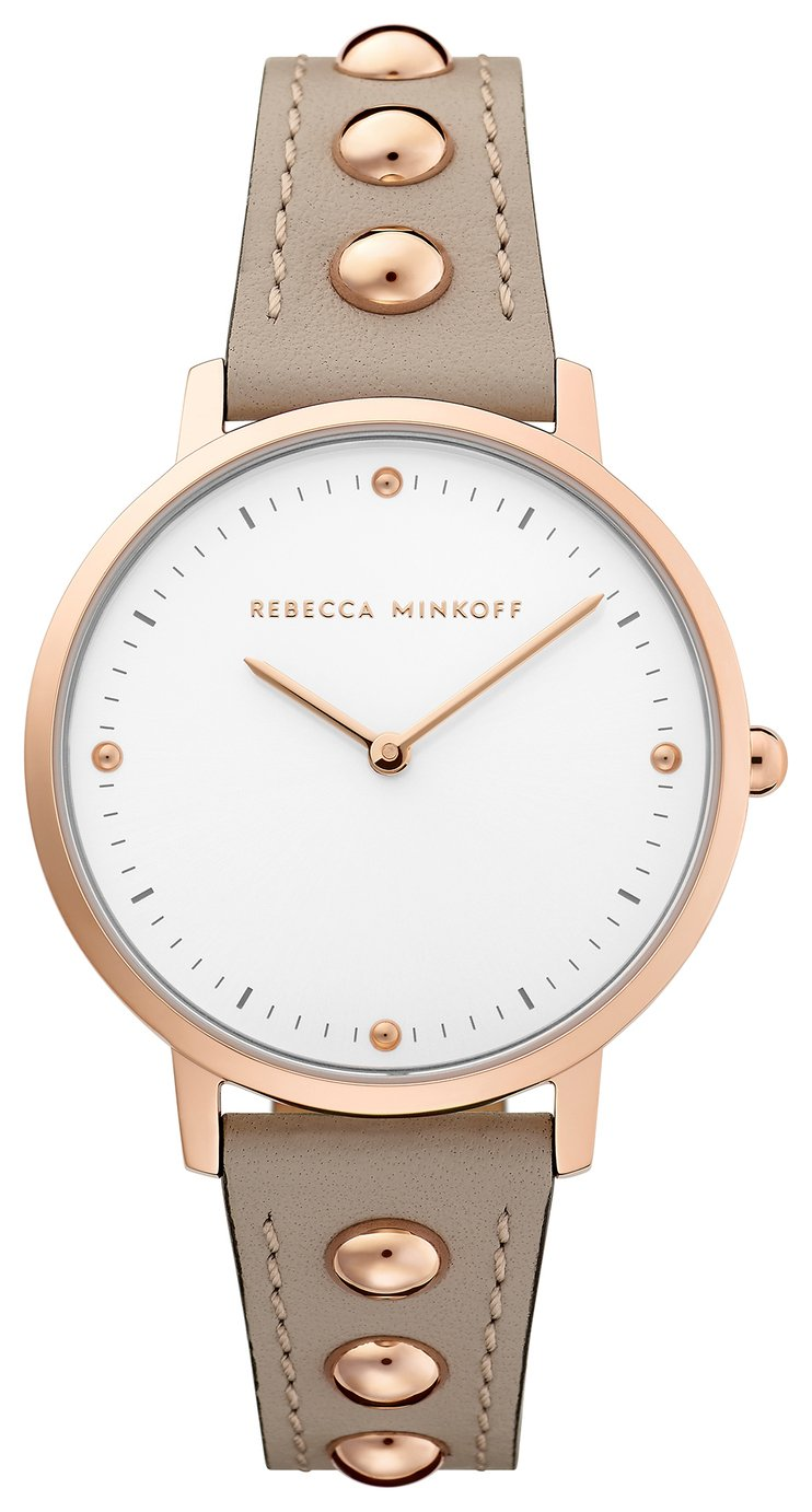 Rebecca Minkoff Ladies Beige Leather Strap Watch