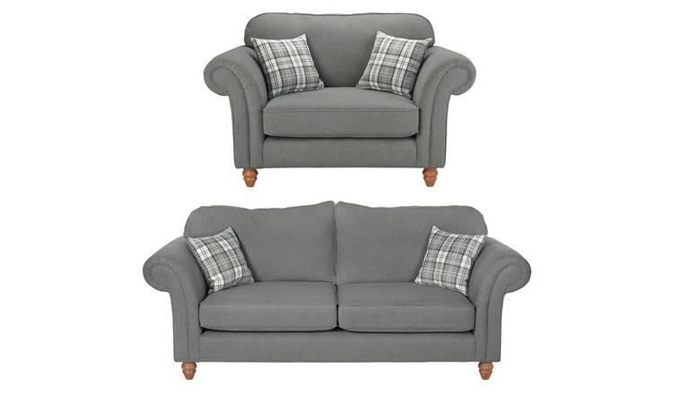 Buy Argos Home Windsor Fabric Chair & 3 Seater Sofa - Light Grey ...