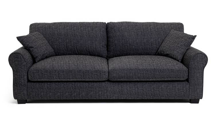 Habitat Lisbon 4 Seater Fabric Sofa - Charcoal