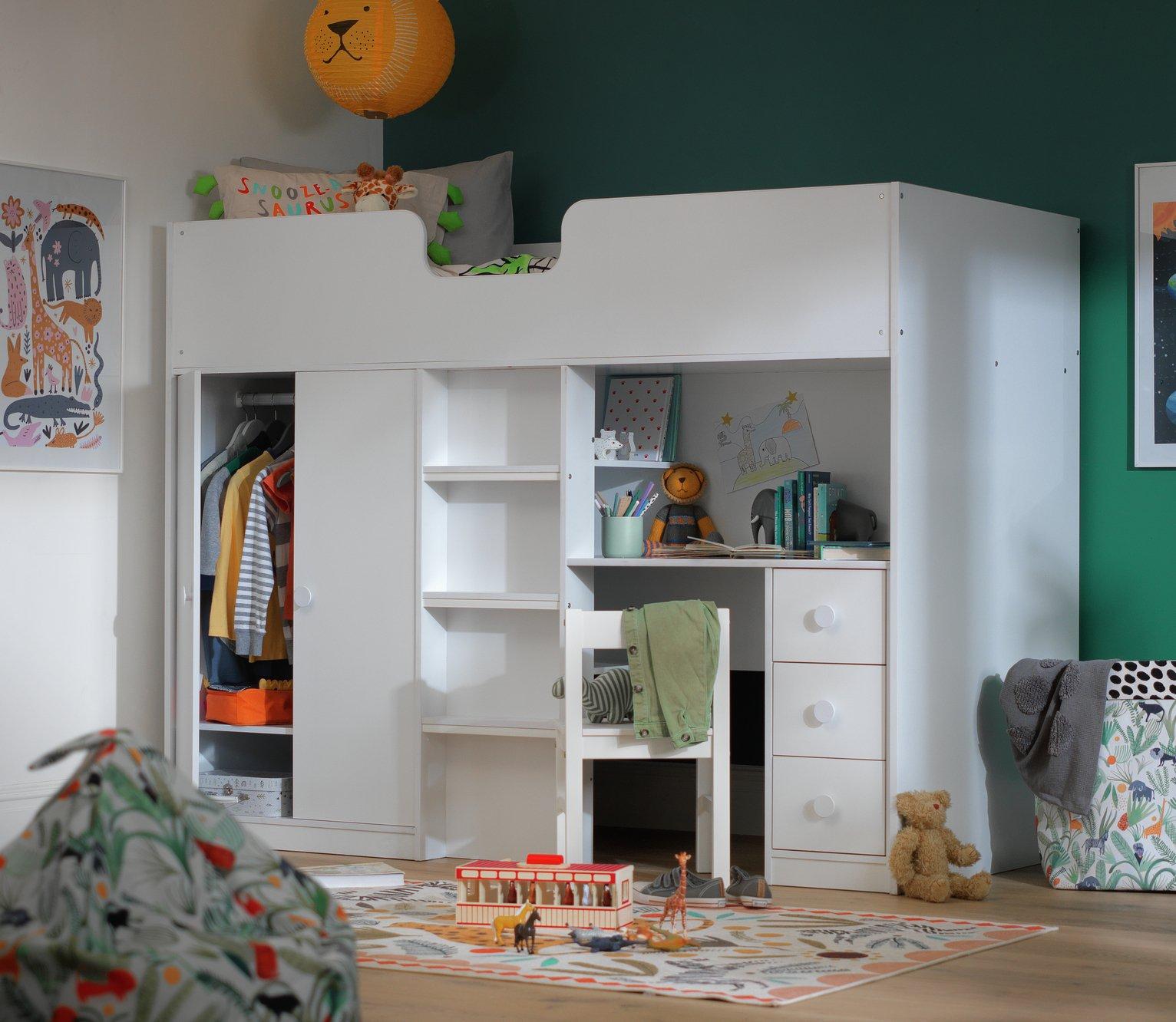 Argos Home Jackson White High Sleeper Bed & Mattress