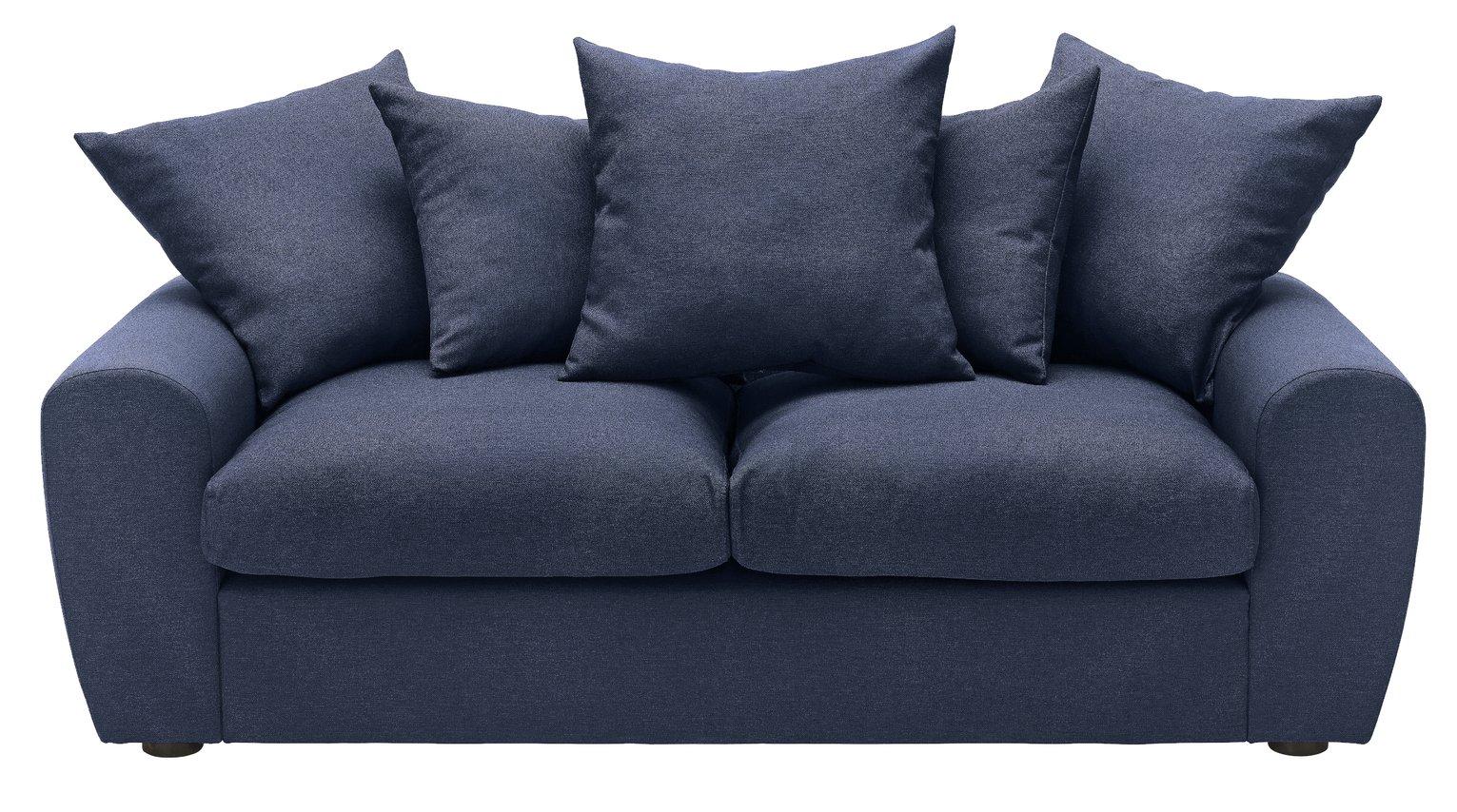 Argos Home Billow 3 Seater Fabric Sofa - Blue