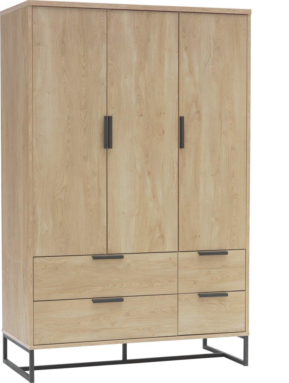 Argos Home Nomad 3 Door 4 Drawer Wardrobe - Light Oak Effect