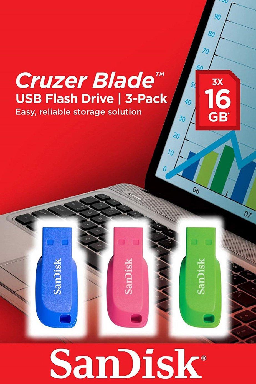 SanDisk Cruzer Blade USB 2.0 Flash Drive 3 Pack - 16GB