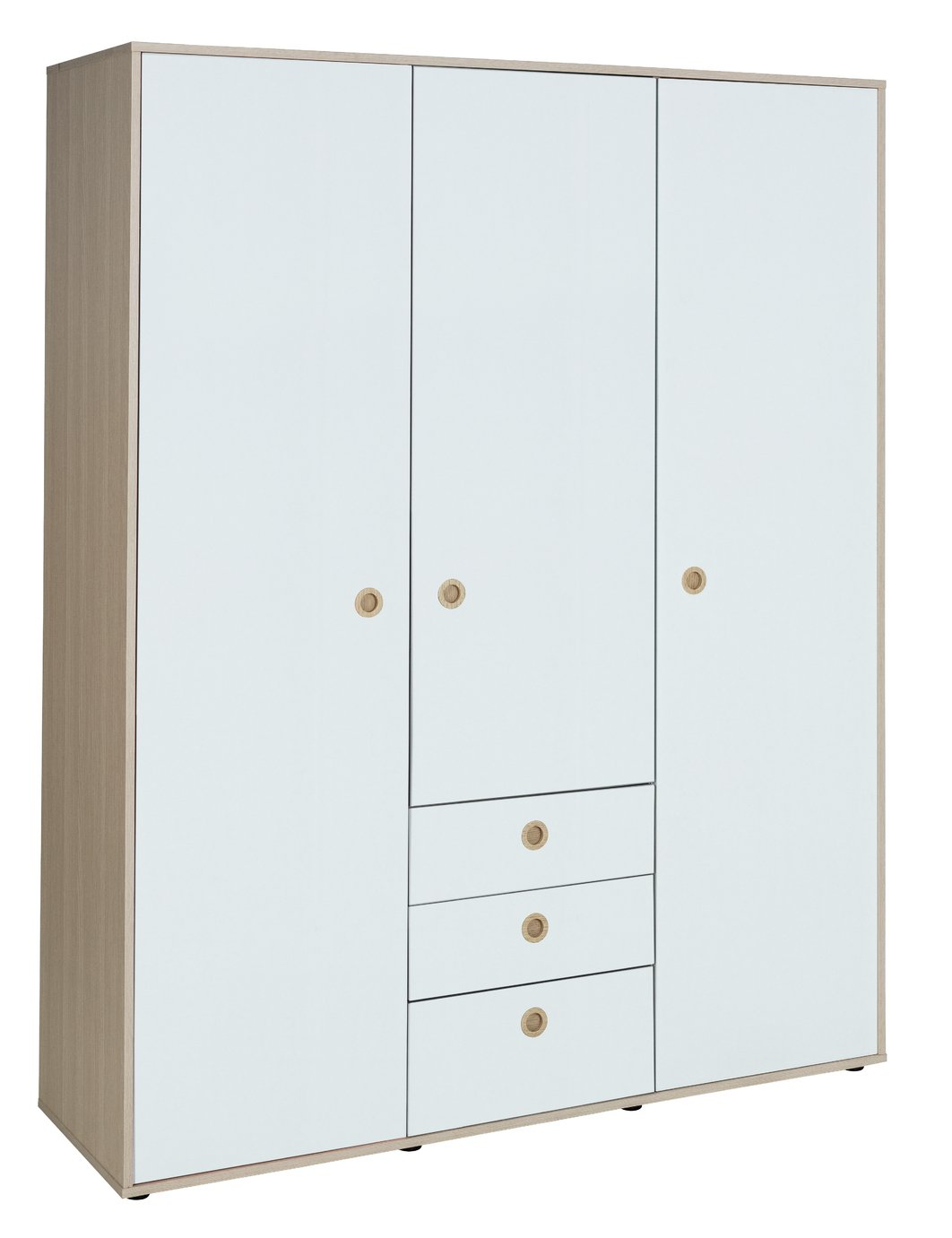 Argos Home Camden White & Acacia 3 Door Wardrobe