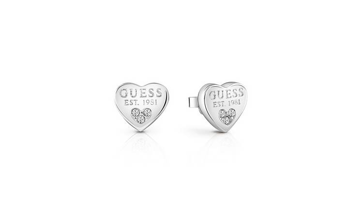 Guess Swarovski Crystal Rhodium Plated Stud Earrings