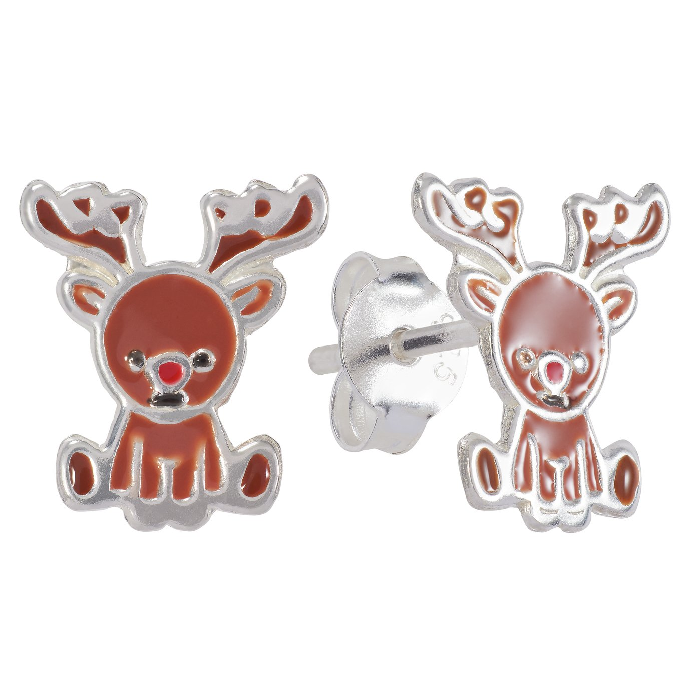 Revere Sterling Silver Enamel Rudolph Stud Earrings