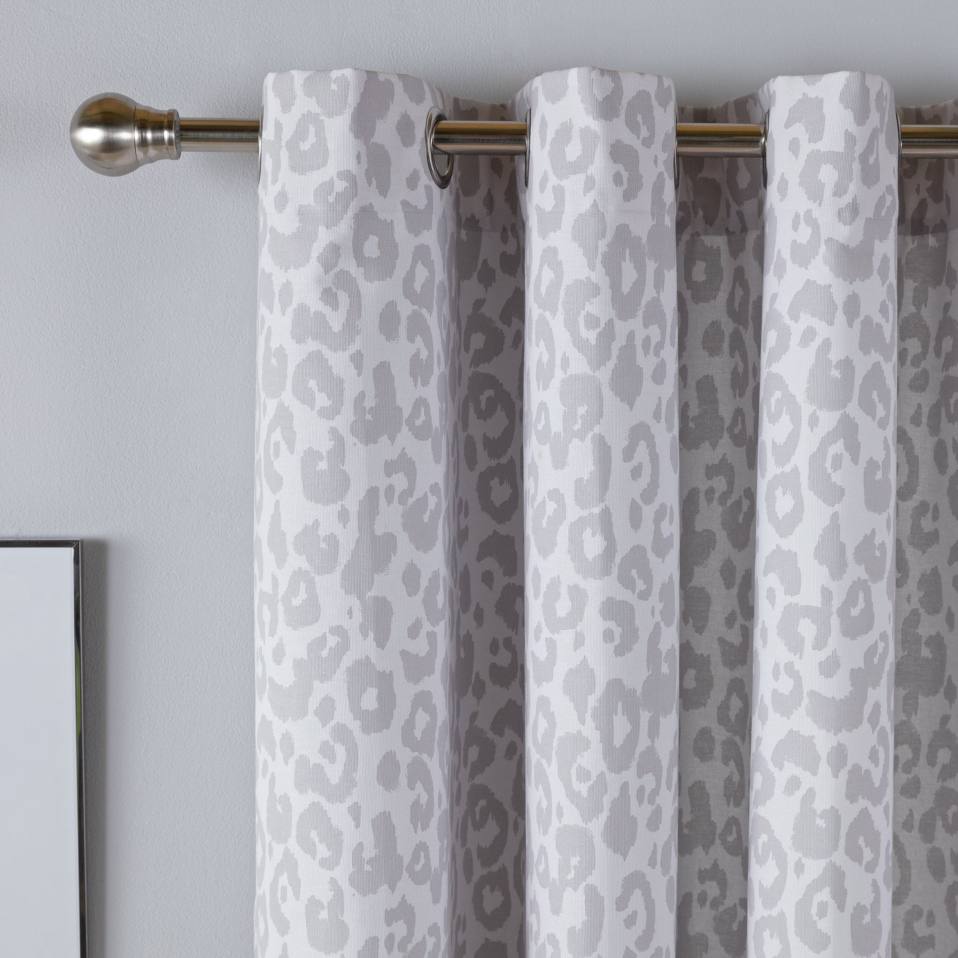 Argos Home Leopard Print Lined Eyelet Curtains - Grey