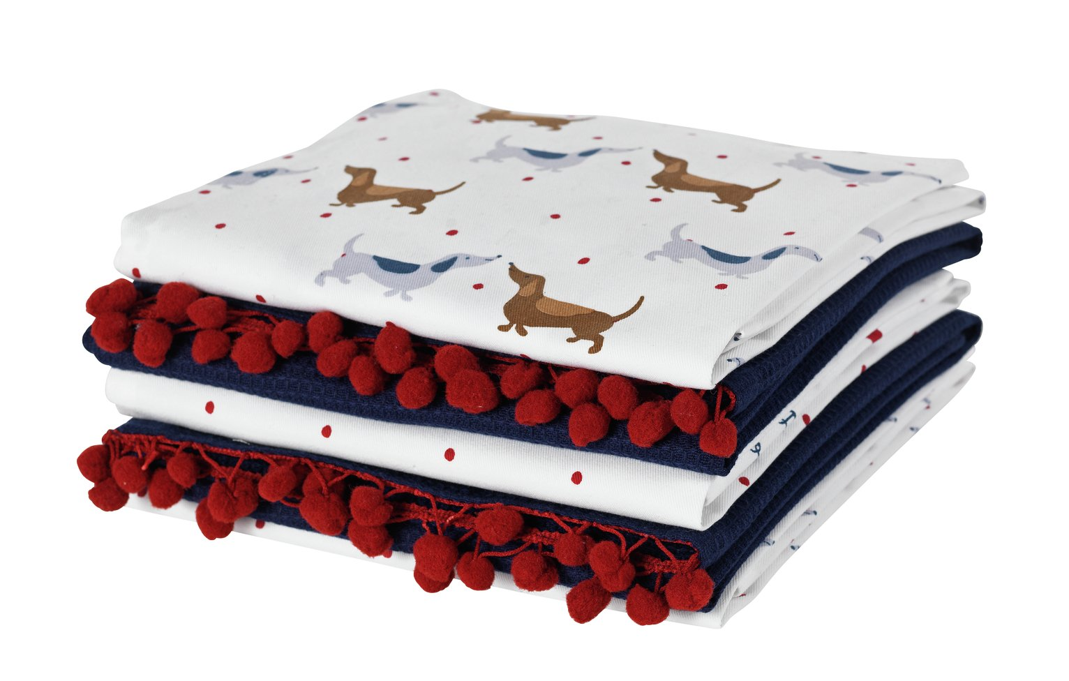 Argos Home Pack of 5 Spot Dachshund Tea Towels