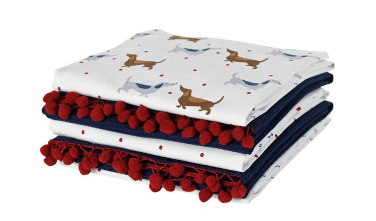 Argos Home Pack of 5 Spot Dachshund Tea Towels