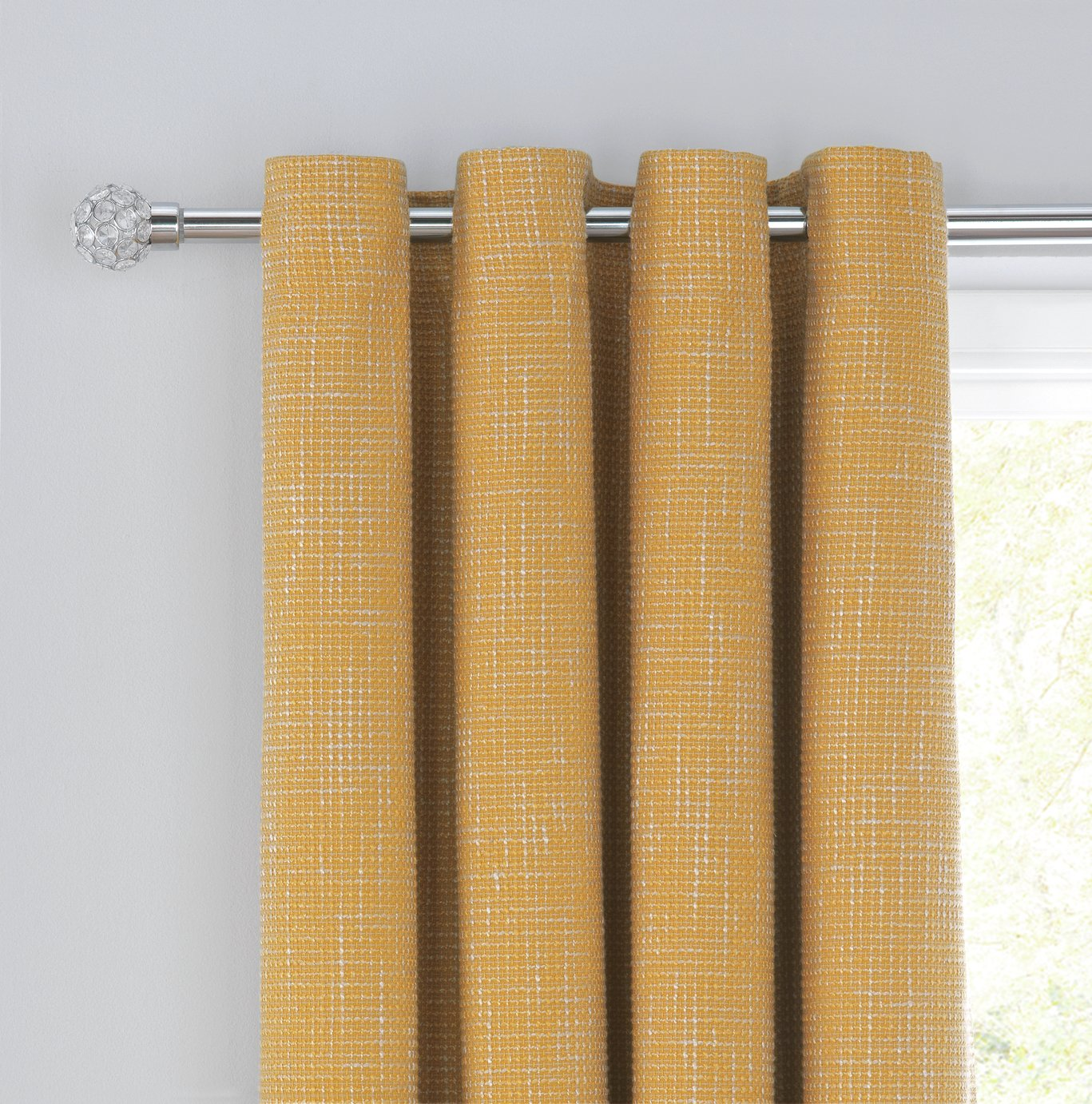 Argos Home Weave Blackout Lined Eyelet Curtains - Mustard