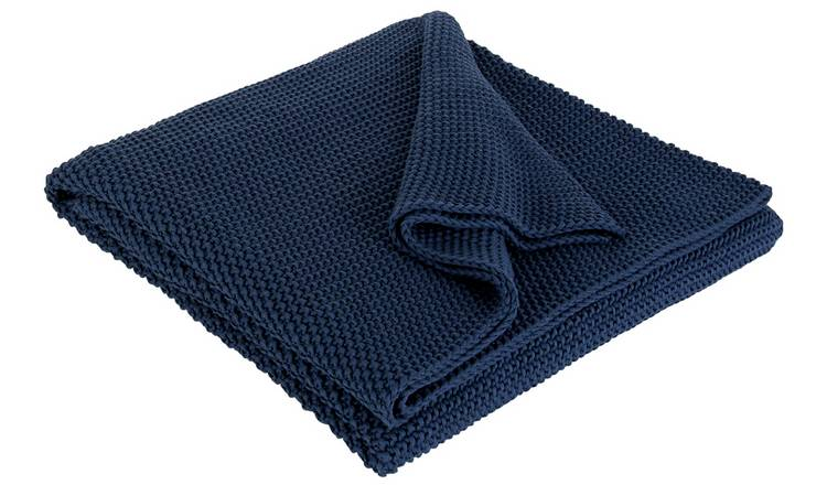 Habitat Paloma Knitted Cotton Throw - 125x170cm - Blue